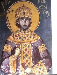 Constantine, fresco traditionally attributed to Manuel Panselinos in Protaton Church of Mt. St Constantine, Constantine The Great, Byzantine Icons, Byzantine Art, Fresco, Great Paintings, Religious Icons, Orthodox Icons, Art