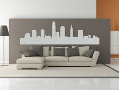 Cleveland Ohio City Skyline Interior Wall Decal WITHOUT Lettering.