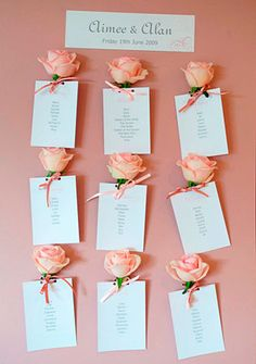 Add a rose to your wedding table plan cards - this is a lovely idea if you are looking for pink wedding decorations Wedding Party Invites, Classic Wedding Invitations, Wedding Stationery, Diy Wedding, Free Wedding, Wedding Blog, Trendy Wedding, Wedding Ideas, Wedding Favors