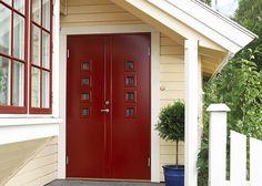 Rød dobbel ytterdør Michigan Michigan, Garage Doors, Outdoor Decor, Inspiration, Design, Home Decor, Biblical Inspiration, Decoration Home, Room Decor