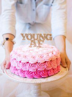 YoungAF Cake Topper for Adult Birthday Cake Smash Photos or Party Birthday Decor 30th Birthday 40th etc. Adult Birthday Cake (Item - YAF800)