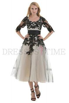 Buy Elegant New Mid Sleeves Black Tea-length Tulle Prom Dress  with Appliques Black