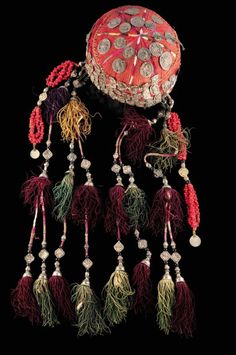 antique nomads turkman hat with silk tassels, silver coins in decoration… tribal art, Central Asia, Turkmenistan.