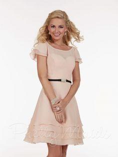 Size 8 Blush Pink Pretty Maids 22588 Illusion Short Bridesmaid Dress