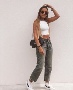 Nike Blazers Outfit, Blazer Outfits, Basic Outfits, Retro Outfits, Cute Casual Outfits, Teenager Outfits, Everyday Outfits, Streetwear Fashion, Aesthetic Clothes