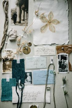 Lovely inspiration board in a muted color palette of grays and blues.