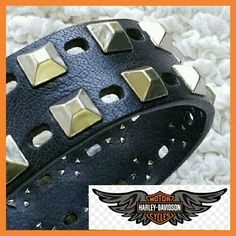 """Harley Davidson Road Rash Leather Belt Genuine leather belt with antique nickel belt buckle with the Harley Davidson logo.? Awesome diamond studded detailing around strap. Great looking distressed leather. Antique nickel finish. Width: 1.5''.  Sized as a 40. Length of leather is 46"""".  There is an extra hole that was added as shown in picture 4. It does not affect the structure of the belt at all. Minor scratching to the buckle adds a road worn look. After all......it is!!! Harley-Davidson…"""