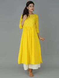 Product Features: Color: Yellow Bottom Color: White Fabric: Blended Cotton Bottom Fabric: Cotton Bottom Style: Plazzo Product Type: Kurti Set Disclaimer: It is Made to order/Custom made products and cannot be exchanged or returned. Salwar Designs, Kurta Designs Women, Kurti Designs Party Wear, Blouse Designs, Designer Salwar Kameez, Indian Designer Outfits, Designer Dresses, Indian Dresses, Indian Outfits