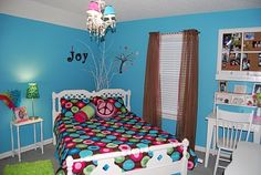 teen girl room, aqua, lime, brown, hot pink. I like the white branches in the corner