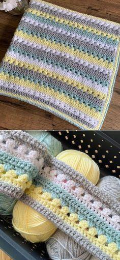 Striped Crochet Blanket, Crochet Baby Blanket Free Pattern, Baby Afghan Crochet, Baby Afghans, Simple Crochet Blanket, Crochet Blanket Tutorial, Easy Baby Blanket, Crochet Stitches For Blankets, Crochet Stitches Patterns