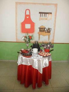 Chá de cozinha vermelho e branco