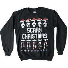Scary Christmas Sweater ($30) ❤ liked on Polyvore featuring tops, sweaters, christmas sweaters and xmas sweaters