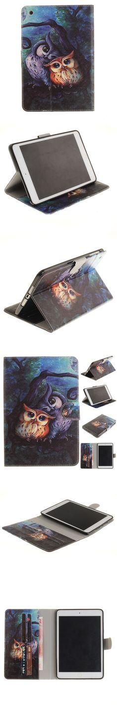 New Kid Cases for iPad Mini 3 2 1 Cute Owl Flip Folio PU Leather Case Cover for iPad Mini 3 2 1 Conque Capa with Card Slot