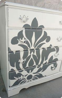 Damask Stenciled Dresser