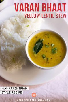 Are you trying to get more grains in your diet? Try spicing them up with this recipe for varan bhaat! This recipe for yellow lentil stew is best served with steamed rice and is often made during Ganesh Chaturthi festival in Maharashtra. If having during the festival then you can leave out the onion and garlic but on other days it tastes great with onion and garlic included. Check out how to make this delicious South Indian recipe today! #festivalfood #SouthIndianfood #lentils #vegetarian #vegan Baby Food Recipes, Food Network Recipes, Indian Food Recipes, Cooking Recipes, Lentil Recipes, Vegetarian Recipes, Maharashtrian Recipes, New Recipes For Dinner, Dal Recipe