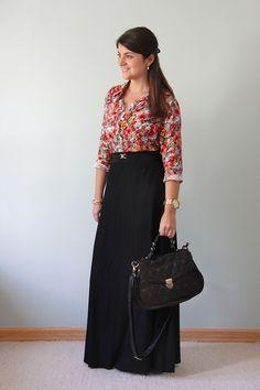 Design e Moda: Look do dia: Saia longa com blusa estampada