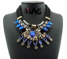 Statement Necklace Blue Crystal Gold Aztec Black Rope Jewellery Bib Pendant in Jewellery & Watches, Costume Jewellery, Necklaces & Pendants | eBay