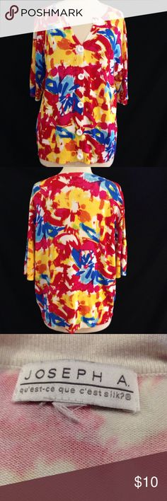 Joseph A  Bright Print Knit Blouse Bust 44 Length 24 This Knit top is in good great condition. No fade, holes, or stains. Great if you want something bright for layering this winter. material Stretches. Size tag is missing. Joseph A.  Tops Blouses