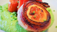 Bacon Wrapped Scallops with Pea Puree and Roasted Carrots