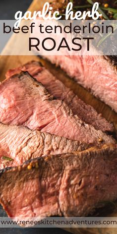 Garlic Herb Beef Tenderloin Roast with Creamy Horseradish Sauce an outstanding special occasion roast. This perfectly prepared, lean, tasty, melt-in-your mouth whole beef tenderloin will be the centerpiece of any holiday meal! Best Roast Beef Recipe, Best Beef Recipes, Fall Recipes, Christmas Recipes, Popular Recipes, Whole Beef Tenderloin, Beef Tenderloin Recipes, Creamy Horseradish Sauce, Good Roasts