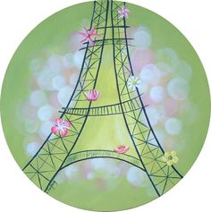 Eiffel Tower painting on linen - SINGLE COPY by French artist Catherine Laufray. Diameter 11,81 in (30 cm). Cotton canvas stapled to a wooden frame. Flat varnish protector. Price : 85 Euros  / $106