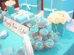 Tiffany Themed Bridal Shower.  A neat colour theme -- cute for cupcakes, little blue box favours, etc.,  Esp since her ring came from there.
