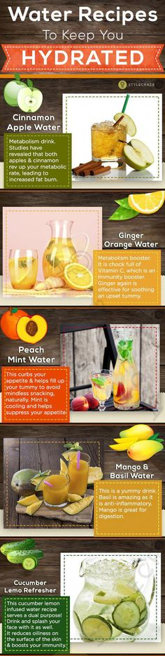 Infused Water – Refreshing Recipes With Fruits and Herbs To Try 5 infundierte Wasser-Rezepte, zum Sie hydratisiert zu halten Infused Water Recipes, Fruit Infused Water, Fruit Water, Infused Waters, Healthy Detox, Healthy Eating Tips, Healthy Drinks, Easy Detox, Healthy Water