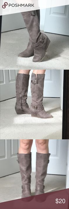 Tall brown wedge boots, size 8 Super cute and super comfortable wedge boots, size 8. Zipper closure. Criss cross buckle on the side and one at the top. Wedge is about 3 inches tall. You can wear these all day, so comfortable! Tiny mark on top buckle of right boot, see photo. Target Shoes Heeled Boots