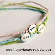 DIY Jewelry Tutorials: Word Bracelets from Happy Hour Projects Woven Bracelets, Wish Bracelets, Simple Bracelets, Knotted Bracelet, Leather Bracelets, Ankle Bracelets, Charm Bracelets, Silver Bracelets, Beaded Jewelry
