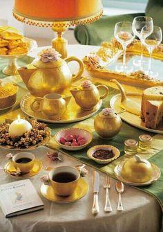 High tea with golden service