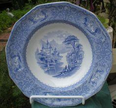 Antique English Blue Transfer Ware Shallow Bowl Monterey Pattern - R