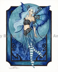"""Teal Dream"" ORIGINAL ART - Watercolor Paintings Q - Z - Amy Brown Fairy Art - The Official Gallery"