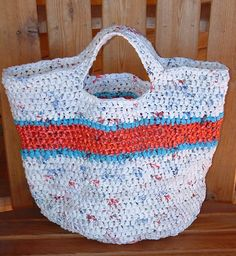 Tutorial - Recycled Striped Plarn (plastic yarn) Grocery Tote Bag