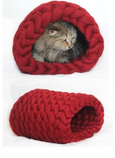 Cat bed Chunky bed tunnel Cat House Cat Chunky by JennysKnitCo