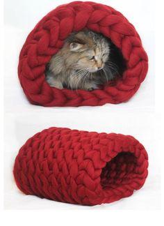 Cat bed Chunky bed tunnel Cat House Cat Chunky by JennysKnitCo