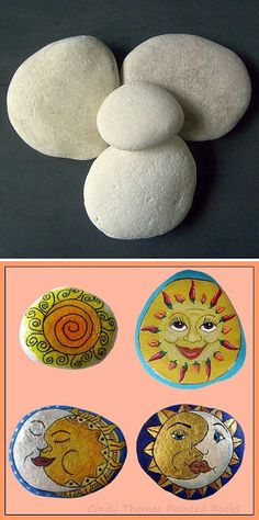 Painting Rock & Stone Animals, Nativity Sets & More: Before & After Painted Rocks: Suns