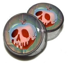"Poisoned Apple Plugs - 1 Pair (2 plugs) - Sizes 0g, 00g, 7/16"", 1/2"", 9/16"", 5/8"", 3/4"", 7/8"", 1"" - Made to Order"