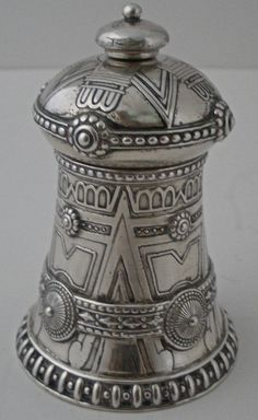 Tiffany & Co sterling silver pepper mill, in a rare Native American motif designed by Paulding Farnham, c1905 (vincentcallahan)