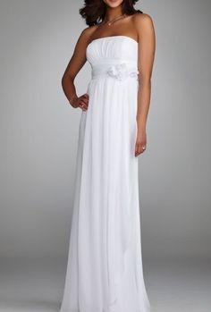 simple beach strapless column floor length chiffon wedding dress cheap high quality. $165.00, via Etsy.
