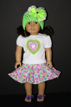 Multi Colored Floral Skirt, Heart Shirt and Hat for American Girl $17.50