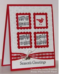 handmade Christmas card ... white and red with black inking ... four square of matted inchies ... sheet music and a cardinal ... like the gingham ribbon cinched with a white twine bow ...