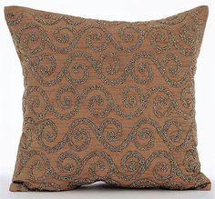 Handmade Gold Decorative Pillow Cover 16x16 Silk