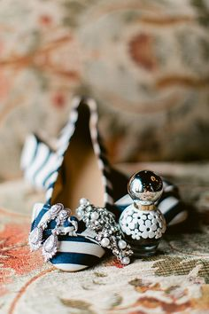 Colorful Spring Wedding in Illinois, Blue and White Wedding Shoes | Brides.com