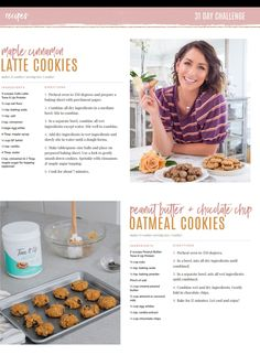 Latte Cookies and Oatmeal Cookies Healthy Sweets, Healthy Cooking, Healthy Snacks, Cooking Recipes, Eat Healthy, Healthy Living, Healthy Recipes, Toneitup Recipes, Tone It Up Protein