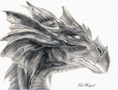 dragon drawings | dragon head by kat winged traditional art drawings fantasy 2010 2013 ...