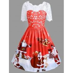 SHARE & Get it FREE | Vintage Christmas Santa Claus Print Lace Insert DressFor Fashion Lovers only:80,000+ Items·FREE SHIPPING Join Dresslily: Get YOUR $50 NOW!