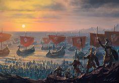 MtG Art: Launch the Fleet from Journey into Nyx Set by Karl Kopinski - Art of Magic: the Gathering Fantasy Battle, Fantasy City, Fantasy Places, Fantasy Warrior, Medieval Fantasy, Fantasy World, Valhalla, Mtg Art, Fantasy Setting