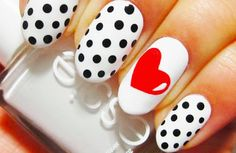 You are currently showing here the awesome result of your 10 DIY Heart Nail Art Designs. You can see here the ideas of 10 DIY Heart Nail Art Designs. Love Nails, Red Nails, How To Do Nails, White Nails, Pretty Nails, Hair And Nails, White Manicure, Black Nail, Valentine's Day Nail Designs