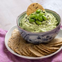 Edamame Hummus - Easy and quick Edamame Hummus dip that will make a great Japanese-style appetizer for a Christmas dinner or for a plate of party nibbles!