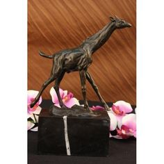 ON SALE !!! Original Signed Milo Tall Giraffe Animal Bronze Sculpture...Of All The Animals In The World, The Giraffe Is The Tallest And Has The Longest Neck. A Male Giraffe�S Head May Be As Much As Six Meters Above The Ground. A Female Is Only A Little Shorter. Nearly Half Of The Giraffes� Great Height Is In Its Neck And Head. Even So, The Giraffe Has Only Seven Bones In Its Neck, The Same As Most Other Mammals And Each Of The Bones Are Very Long. A Giraffe Eats Leaves And Grass. In Order To…